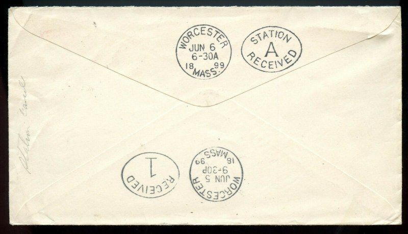 U.S. U362 1899 Cover w/Worcester, Massachusetts Station A Oval Received Mark