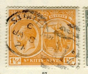 ST.KITTS; 1920s early GV issue fine used Columbus issue 1.5d. value