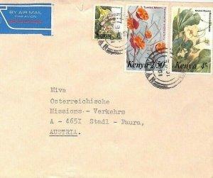 KENYA Air Mail Cover *Nyeri* Flowers MIVA MISSIONARY Austria 1988 CA154