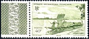 French West Africa stamp SC#38 Mint Label, Trading Canoe, Niger River