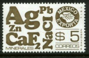 MEXICO Exporta 1120, $5P Minerals perf 14 Unwmkd Fosfo Paper 5 MINT, NH. VF.