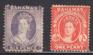 Bahamas #14 Used (Has a thin and a short perf) -- #16 Mint has a thin