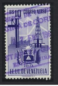 Venezuela Arms issue State of Zulia 10Bs KEY VALUE 1951 Canc SC#C355 SG#969