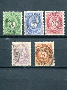 Norway #16-20  used  F-VF -  Lakeshore Philatelics