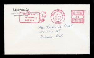 FOLDED LETTER NOTICE RED SLOGAN PB METERED 2¢ ⭐ FATHER'S DAY ⭐ BALTIMORE MD 1958