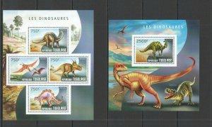 TG541 2014 Togo Faune Reptiles Préhistorique Animaux Dinosaures KB + Bl MNH