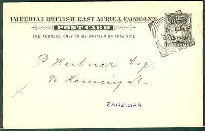 BRITISH EAST AFRICA 1895, H & G #4 1 Anna postcard used