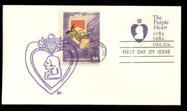 36th Field Artillery Poster Stamp on Purple Heart #U603 FDC