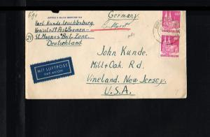 1946 - Allied Occupation Cover - From Bremen to Vineland (USA) [B09_144]