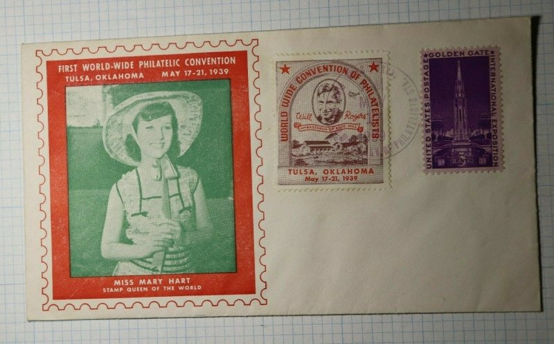WW Philatelic Convention Will Rogers & Mary Hart Stamp Queen Cachet content 1939