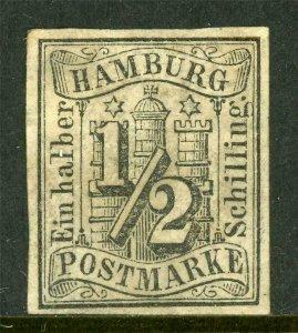 Germany 1859 Hamburg ½ Shilling Black Imperf SG #1 VFU J885 ⭐⭐⭐⭐⭐⭐