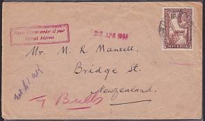 NIGERIA 1938 cover Port Harcourt to New Zealand - 'Inform sender' handstamp.1461