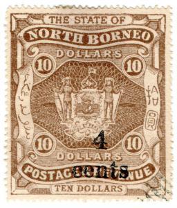 (I.B) British North Borneo Postal : 4c on $10 OP (State)