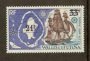 Wallis & Futuna Islands, Scott #C36, 21fr on 33fr Map and Ship, MNH