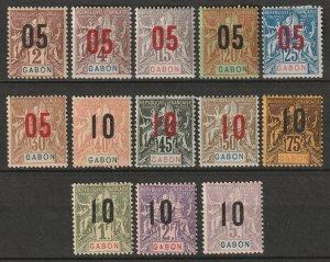 Gabon 1912 Sc 72-84 set MH*/MNG some disturbed gum
