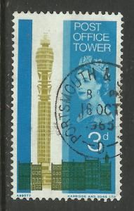 GB 1965 QE2 3d Post Office Tower  SG 679 Portsmouth Pmk ( C256 )