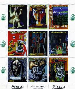 Turkmenistan 1999 Pablo PICASSO PAINTINGS Sheet Perforated Mint (NH) #2