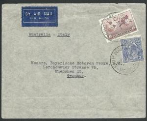 AUSTRALIA 1938 airmail cover to Germany, 1/9d rate via Italy?..............58921