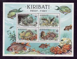 Kiribati-Sc#455a-Unused NH sheet-Reef Fish-Marine Life-1985-