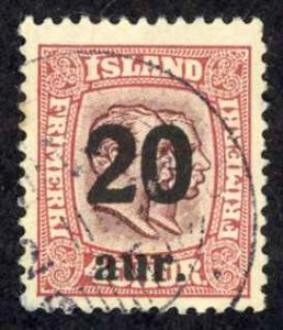 Iceland Sc# 135 Used 1921-1925 20a Overprints