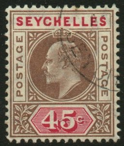 SEYCHELLES-1906 45c Brown & Carmine Sg 67 FINE USED V48884