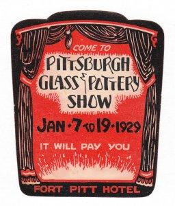 REKLAMEMARKE POSTER STAMP PITTSBURGH GLASS & POTTERY SHOW FORT PITT HOTEL 1929