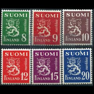 FINLAND 1950 - Scott# 291-6 Lion Arms Set of 6 LH