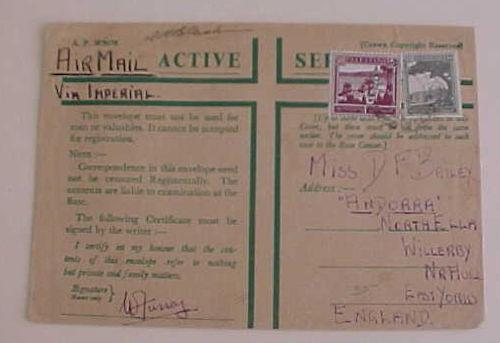 PALESTINE   FPO on GREEN ENVELOPE TO ENGLAND