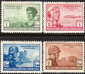 Stamp Croatia Sc B33-6 1943 WWII War Russia Legion Panzer Soldier War MNH