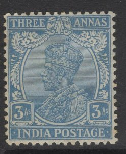 INDIA SG208 1926 3a ULTRAMARINE MTD MINT