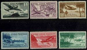 CANAL ZONE #C15-20 1939 5c TO $1 AIRMAIL ISSUES--MINT-OG/NEVER HINGED--VF