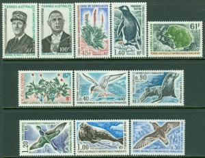 EDW1949SELL : F.S.A.T. 1972-76 Scott#52-56, 58-63 Very Fine, Mint NH. Cat $125.