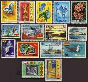 Ghana 356-370,MNH.Michel 367-381. NEW CONSTITUTION,1969.Bird,Fish,Hare.1969.