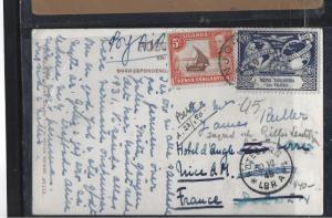 KENYA.UGANDA, TANGANYIKA (P0302B) 1949 KGVI 5X+UPU 30C ON PPC TO FRANCE NJOLO