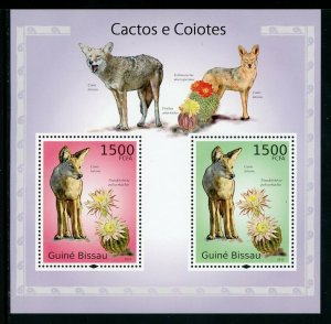 Guinea-Bissau MNH S/S Coyotes & Cactus 2010 2 Stamps