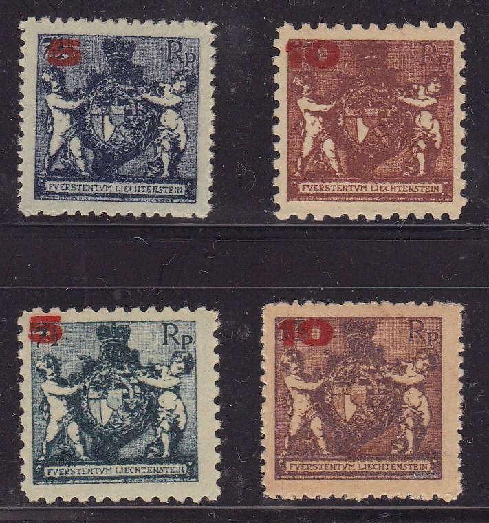 Liechtenstein 1924 nr.58 & 60a Surcharged in Red. Perf 12 1/2 + Perf 9 1/2  NH