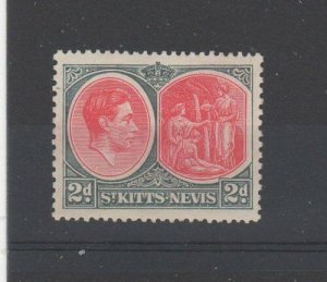 St Kitts-Nevis 1941 2d Chalk-surfaced paper MH