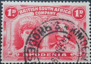 Rhodesia Double Head One Penny with KIMBERLEY REEFS jet black ink (DC) postmark