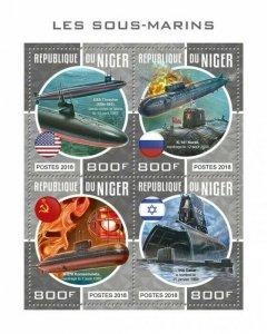 HERRICKSTAMP NEW ISSUES NIGER Submarines Sheetlet