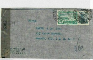 URUGUAY TO US 1944  CENSOR AIRMAIL COVER. REF R387