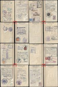 JUDAICA ISRAEL PASSPORT , SEPARATE PAGES, REVENUE STAMP, VISAS, 1958