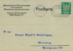 93180 - GERMANY - POSTAL HISTORY - PERFIN stamp on CARD: MM Cards transport 1925