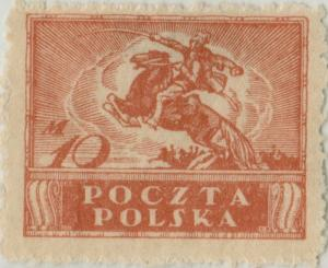 POLOGNE / POLAND - 1920 - Mi.116zl p.11 (rough) 10M Dark Orange - Mint*