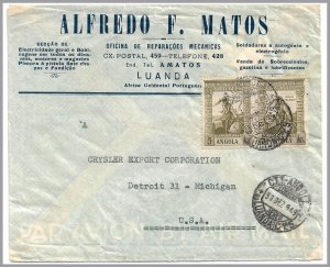 ANGOLA (Portugal) 1949 5a Vasco da Gama Pair - Commercial airmail cover to USA