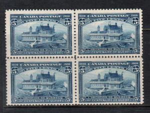 Canada #99 Mint Fine - Very Fine Block - Bottom Stamps Never Hinged Top Hinged