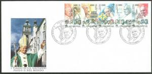 VATICAN Sc#1167 2000 Pope John Paul II Travels Strip of 5 Complete Official FDC