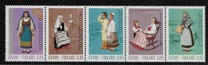FINLAND, 537A, MNH,FOLDED, STRIP OF 5, REGIONAL COSTUMES
