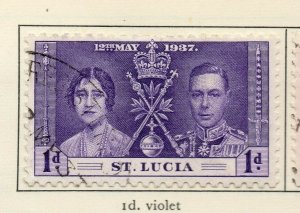 St Lucia 1937 GVI Early Issue Fine Used 1d. NW-154967