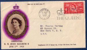 GB SG 532 FDC QEII LONDON TO NEW YORK,NY USA Jun 03,1953 Queen's Coronation