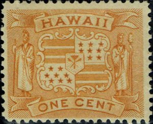 HAWAII #74 1894 1c COAT OF ARMS ISSUE MINT-OG/HINGED